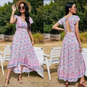 Boho floral print v neck maxi dress